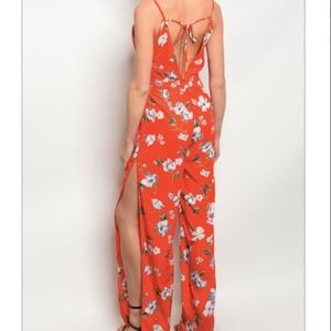 Pants - SALE: Red-Orange and White Floral Jumpsuit